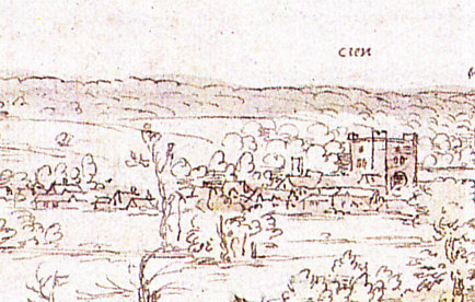 Sheen Charterhouse from the west, c. 1558–62. Part of a sketch of Richmond Palace by the Flemish artist Anton van den Wyngaerde (1525 - 1571)