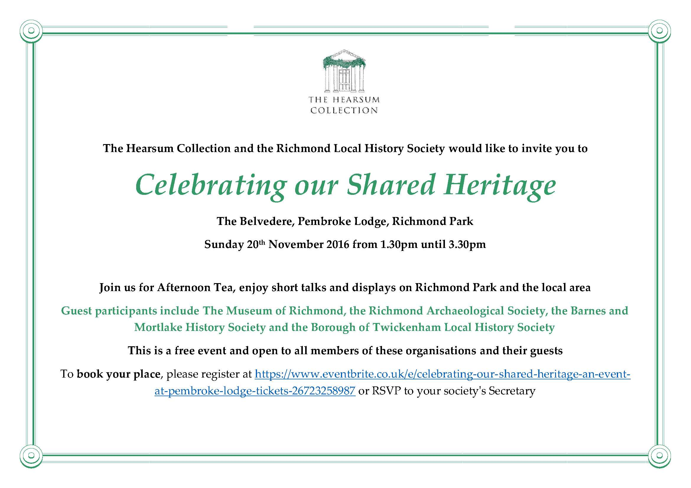Invitation - The Hearsum Collection and the Richmond Local History Society revised 17.08.16